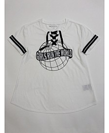 Big Girls Lace-Up Graphic-Print T-Shirt, Created for Macy's