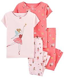 Toddler Girl 4-Piece Dancer Snug Fit Cotton PJs