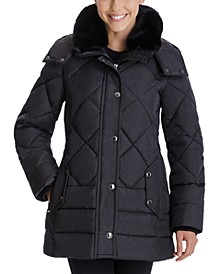 Faux-Fur-Collar Hooded Down Puffer Coat