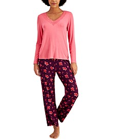 Lace-Trim Top & Printed Pants Pajama Set, Created for Macy's