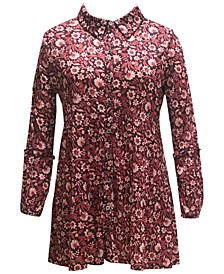 Plus Size Floral-Print Mesh Shirt, Created for Macy's