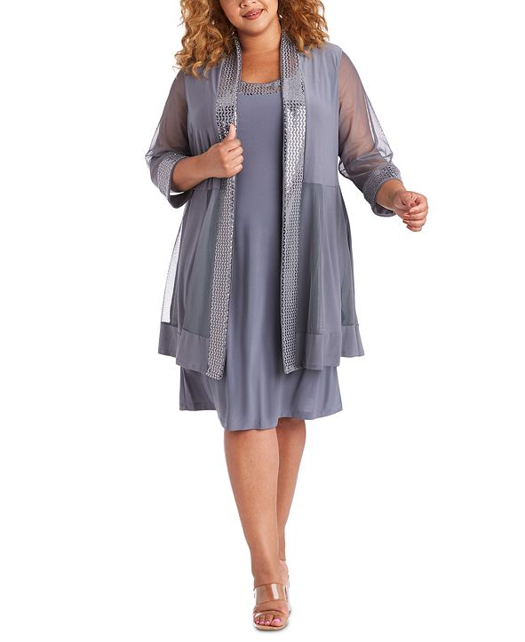 R & M Richards Plus Size Embellished Dress & Illusion Jacket