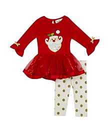 Baby Girls Tutu Legging Set with Sequin  Santa Applique
