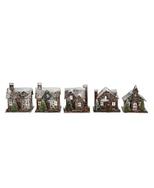 Snow Flocked Paper Birch Bark Buildings and Village with Trees LED Lights Boxed Set of 5 Styles