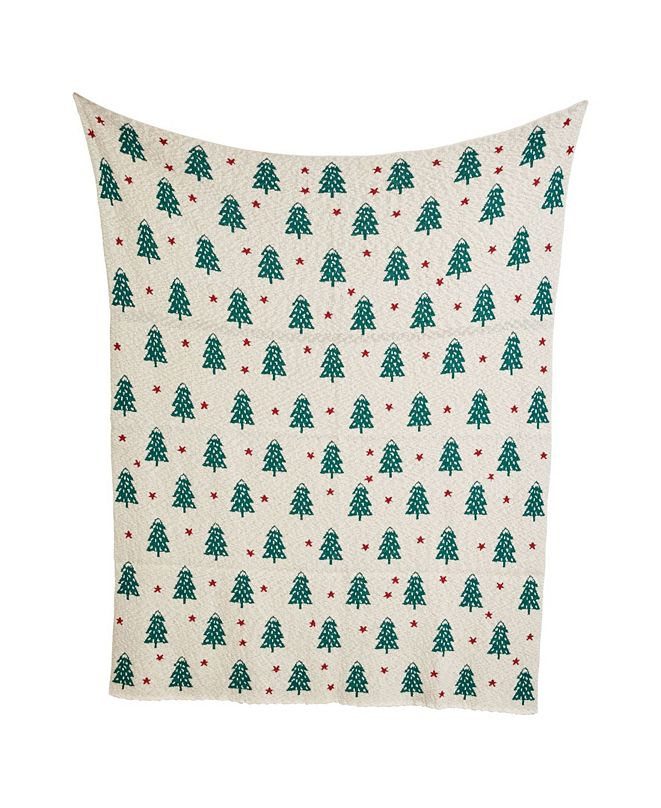 """CREATIVE CO-OP INC 60"""" Cotton Knit Throw with Trees"""
