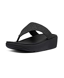 Women's Imogen Basket Weave Toe-Thong Wedge Sandal