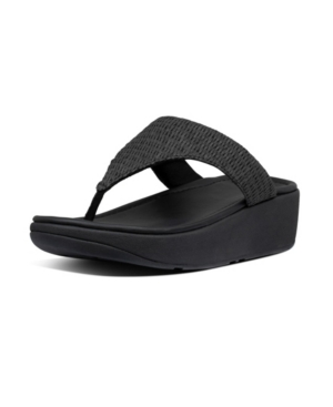Fitflop FITFLOP WOMEN'S IMOGEN BASKET-WEAVE RAFFIA TOE-THONGS SLIDES WOMEN'S SHOES