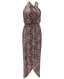 INC Snake-Print Halter Maxi Dress, Created for Macy's