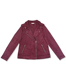 Faux Suede Moto Jacket, Created for Macy's