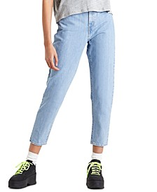High-Rise Paperbag-Waist Tapered Cotton Jeans