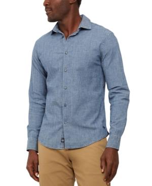 Men's Vintage Workwear Inspired Clothing Dockers Mens Alpha Regular-Fit Supreme Flex Performance Stretch Chambray Shirt $39.75 AT vintagedancer.com
