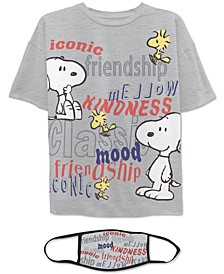 Juniors' Snoopy T-Shirt & Face Mask
