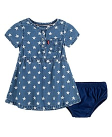 Baby Girl Polka Dot Denim Dress with Diaper Cover
