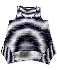 Striped Handkerchief-Hem Tank Top, Created for Macy's