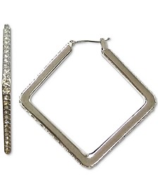 INC Silver-Tone Pavé Square Hoop Earrings, Created for Macy's