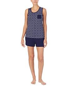 Printed Tank Top & Solid Boxer Shorts Pajama Set