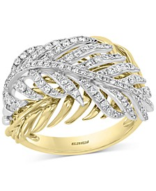EFFY® Diamond Two-Tone Feather Ring (5/8 ct. t.w.) in 14k Gold & White Gold