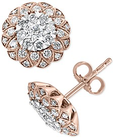 EFFY® Diamond Cluster Stud Earrings (1 ct. t.w.) in 14k Rose & White Gold