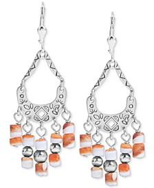 Orange Spiny Chandelier Drop Earrings in Sterling Silver