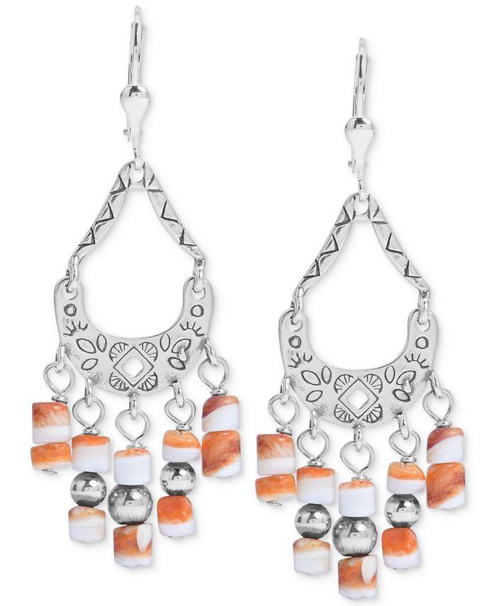 American West - Orange Spiny Chandelier Drop Earrings in Sterling Silver