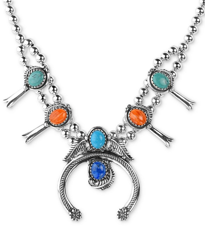 """American West - Multi-Stone Squash Blossom Statement Necklace in Sterling Silver, 16"""" + 3"""" extender"""