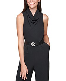 Plus Size Cowlneck Belted Jumpsuit