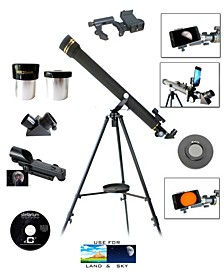 800mm x 60mm Day and Night Telescope Kit with Smartphone Adapter and Solar Filter Cap