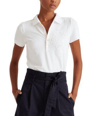 로렌 랄프로렌 Lauren Ralph Lauren Slim-Fit Polo Shirt,White