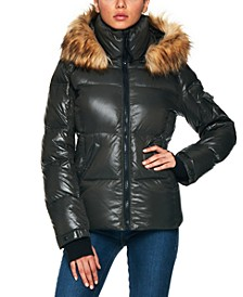 Allie Faux-Fur-Trim Hooded Puffer Coat