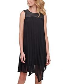 Mixed-Media Pleated Dress