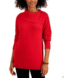 Plus Size Envelope-Neck Tunic Sweater, Created for Macy's