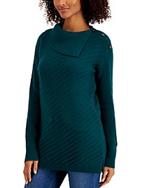 Ribbed Button-Detail Tunic Sweater, Regular & Petite Sizes, Created for Macy's