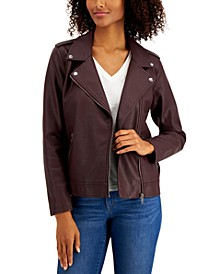 Petite Faux-Leather Moto Jacket, Created for Macy's