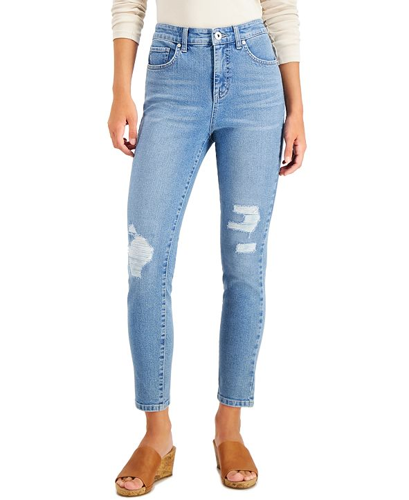 Style & Co Plus Size Distressed Slim-Fit Ankle Jeans, Created for Macy's