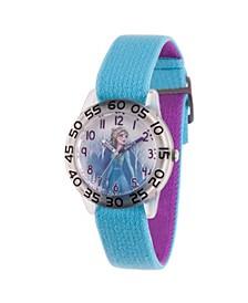 Disney Frozen 2 Elsa Girls' Clear Plastic Time Teacher Watch 32mm