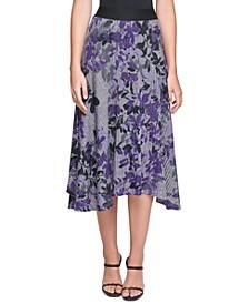 Floral-Print Asymmetrical Midi Skirt