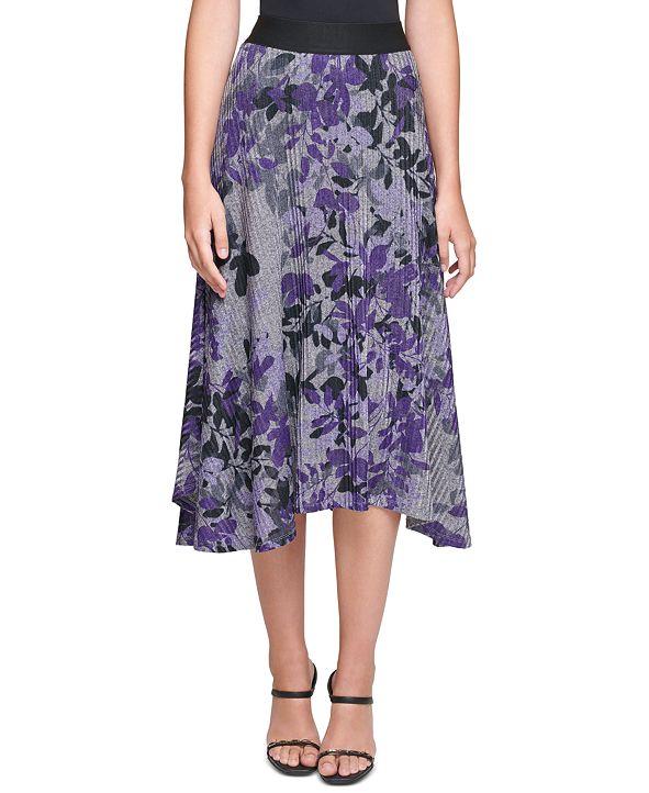 Calvin Klein Floral-Print Asymmetrical Midi Skirt