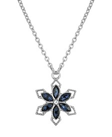 """Silver-Tone Crystal Sapphire Blue Color Stone Flower 16"""" Adjustable Necklace"""