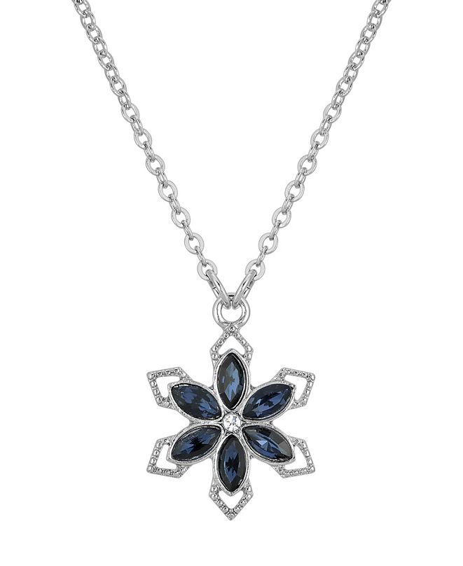 """2028 Silver-Tone Crystal Sapphire Blue Color Stone Flower 16"""" Adjustable Necklace"""
