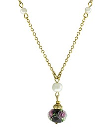 "Gold-Tone Imitation Pearl and Black Floral Bead Drop 16"" Adjustable Necklace"