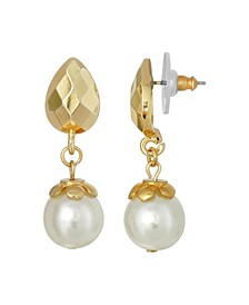 Gold-Tone Imitation Pearl Drop Earring