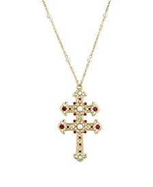 "14K Gold Dipped Red and Imitation Pearl Double Cross 30"" Necklace"
