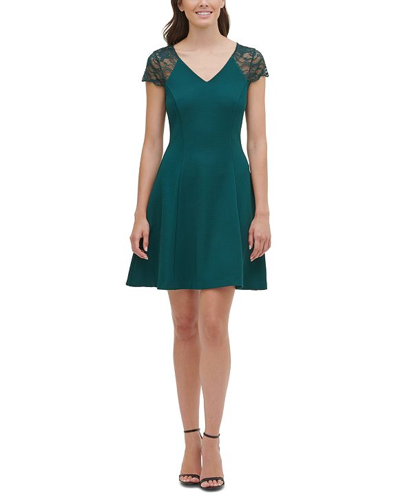 kensie Lace-Cap-Sleeve Skater Dress