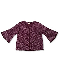 Plus Size Cotton Printed Lantern-Sleeve Top, Created for Macy's