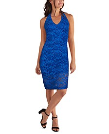 Lace Halter-Neck Midi Dress
