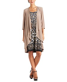 Plus Size Puff-Print Dress & Jacket