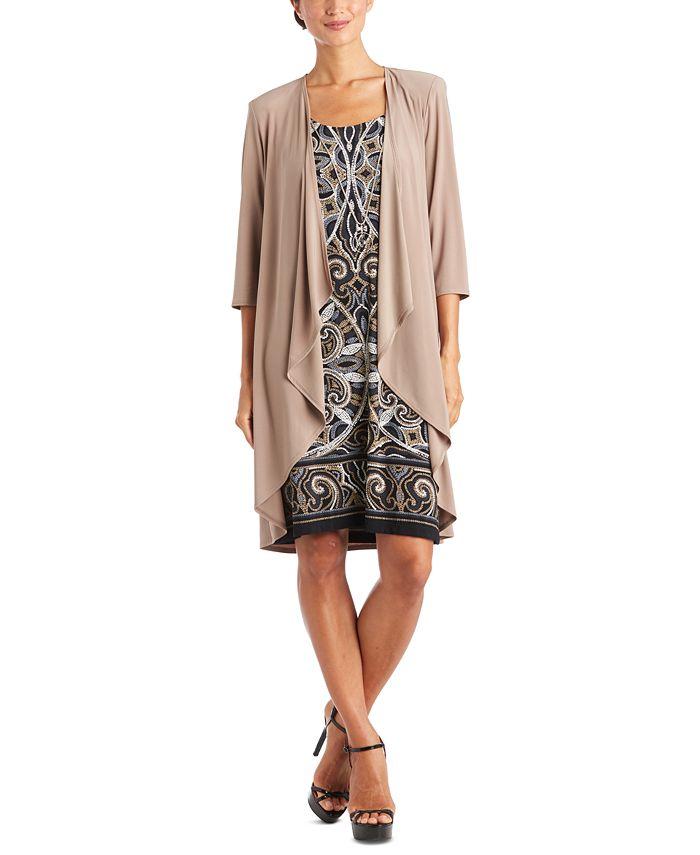 R & M Richards - Plus Size Puff-Print Dress & Jacket