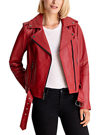 Michael Michael Kors Belted Leather Moto Jacket, Created for Macy's