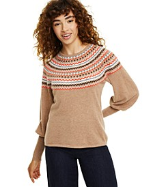 Petite Fair Isle Balloon-Sleeve Cashmere Sweater, Created for Macy's
