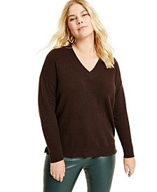 Plus Size Cashmere Oversized V-Neck Sweater, Created for Macy's